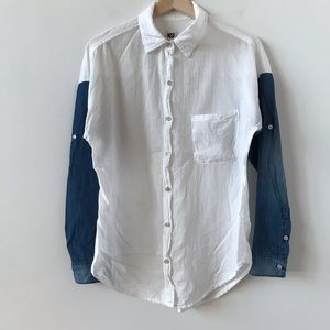 NSF white and chambray button down